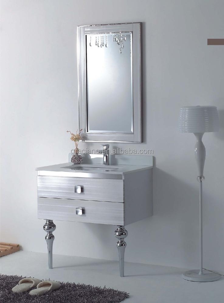 steel silver on floor modern bathroom cabinet in bathroom vanities