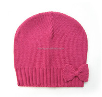 Fashion hot pink wholesale wool knitted winter hats with bowknot