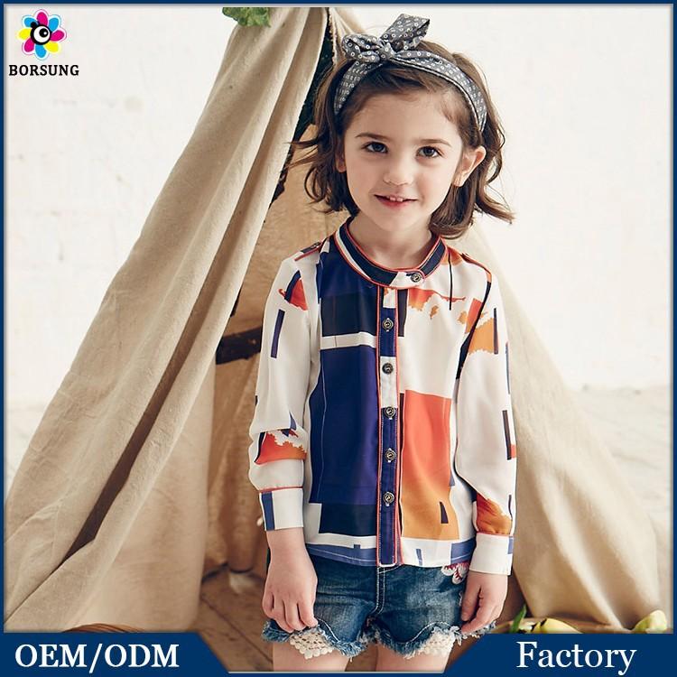 New Fashion Girls Tops 100% Cotton Chiffon Long Sleeve Geometry Sweat Fancy Print Kids Shirts