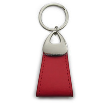 genuine cow leather keychain with stainless steel key ring