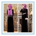 Élégante velet cristal manches longues robe de soirée musulmane 2015 ( MUSL-1002 )