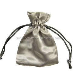 Promotion sliver satin bag with drawstrings custom satin gift bag pouch Christmas satin gift pouch