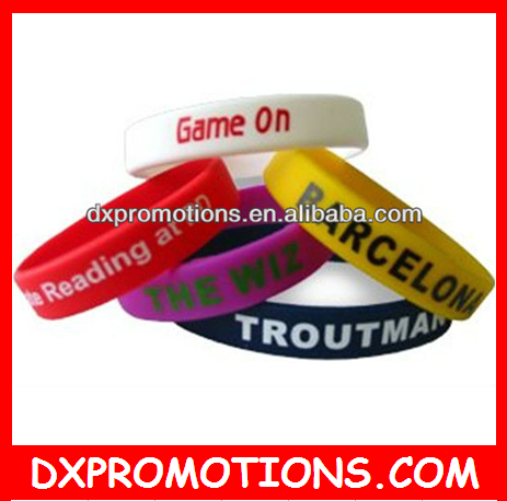 beautiful silicone bracelets with debossed colorful paint logo