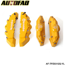 AUTOFAB - 4pcs Yellow 3D Brake Caliper Covers Universal Car Brembo Style Disc Front Rear Kits YJ06 AF-TPZ0312Q-YL