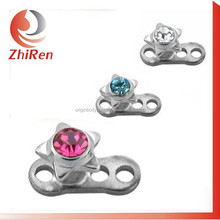 ZhiRen High quality Gemmed star satinless steel Skin driver piercing ,dermal anchor piercing