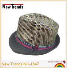 Colorful straw man fedora hat