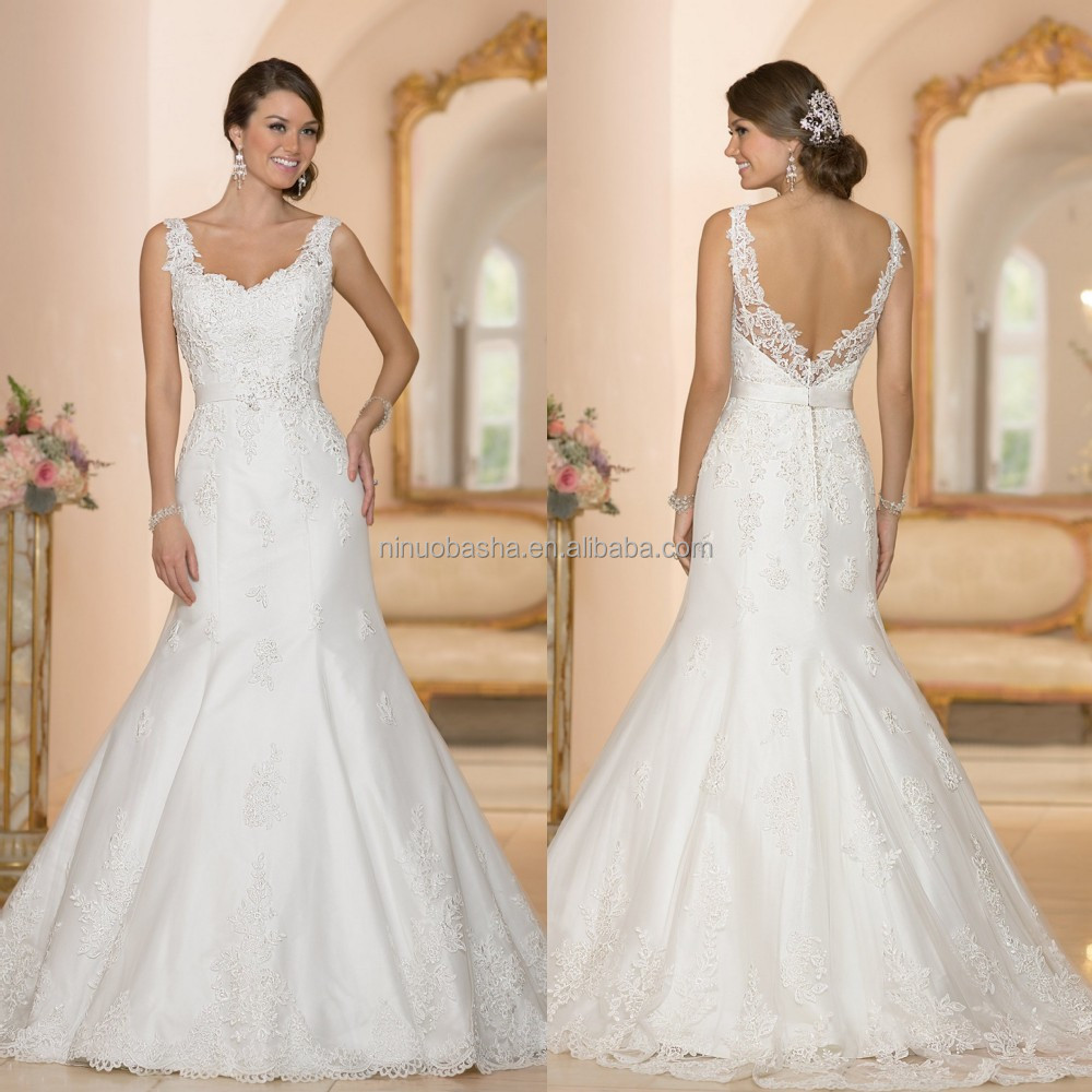 Vogue Mermaid Wedding Dress With Straps 2015 Sweetheart Full Length