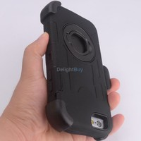 """Heavy Duty Hybrid Hard Stand Protect Case Cover For iphone 6 4.7"""" Black with belt clip"""