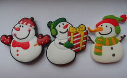 soft PVC rubber plastic christmas snowman holiday fridge magnet