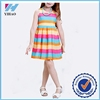 2015 new arrive girls rainbow colored dresses fancy stripe dress for teenage girls with your own design and logo