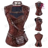 New Steampunk Steel Boned Bustier Corsets With Jacket and Belt