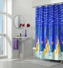 cheap polyester shower curtain with 12 free hooks