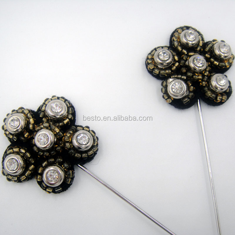 China Manufacture Small Size 3.5cm Men Black Bead Flower ...