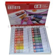 18 colours acrylic paint tube set for nail art paint