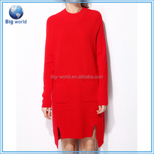 High quality wool knitted cashmere Women sweater&sweater dress&fashion woolen sweater dress BF-108