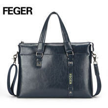 Feger Durable Handmade Cow Split Leather Briefcase For Travel Light