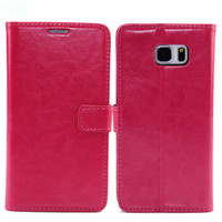 Leather Material Plain weave wallet Genuine leather case cover With card holder for Samsung Note 5