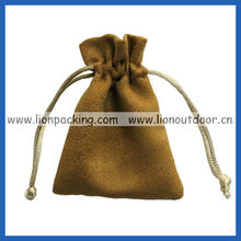 Suede jewelry pattern pouch Choclate colour