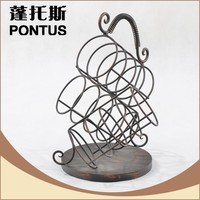 Wholesale handmade novelty bottle shape wrought iron metal wine rack