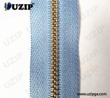 4.5# auto lock copper metal zipper and five star zipper binder