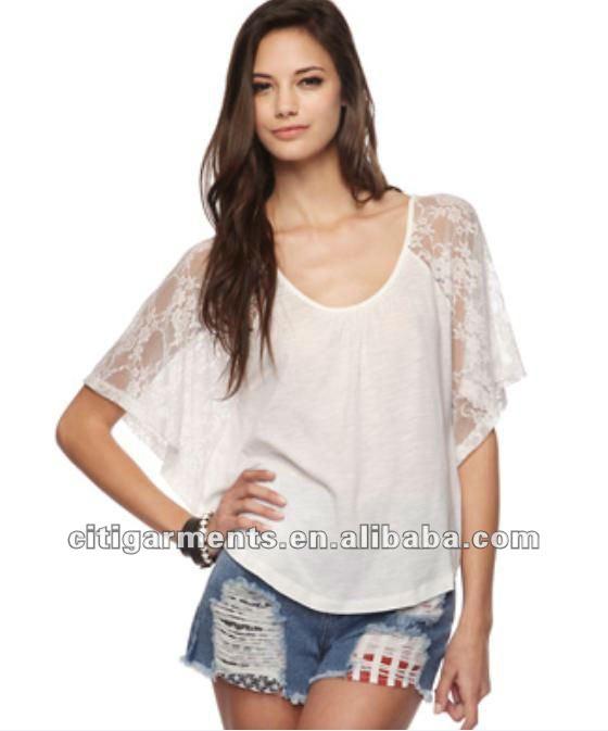 Senhoras novo design modal- mistura de renda sleevestop/tee/2012 blusa mulher moda tops e blusas