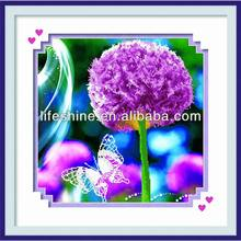 Diamond colorful paint with purple flower printed for arts collections