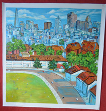 Thick acrylic painting city scape painting wall art