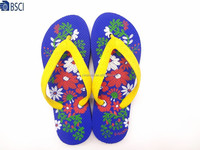 Women rubber strap PE sole printed slipper convenience flip flop