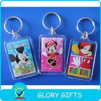 promotional clear custom blank souvenir plastic photo frame key chain picture insert logo plastic keyring acrylic keychain
