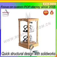Promotion wood counter display motor active rotating watch stand shelf