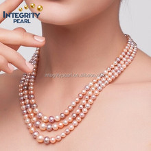 2015 near round three rows mixed color natural freshwater pearl necklace jewelry