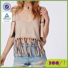 2015 New Fashion Design High Quality Sleeveless V neckline Premium Suede Fringe Eyelet Taupe Cotton Crop Top