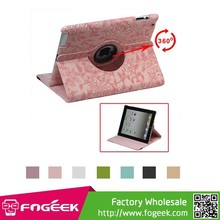 Flowers Embossing 360 Degree Rotary Leather Stand Case Cover for ipad 2 3 4