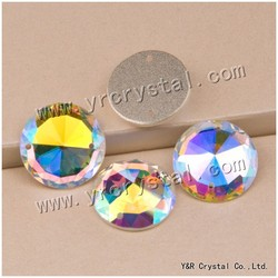 AB Color Sew on Crystal Round Flat Back Glass Stone For Clothes