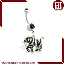 HT Navel Ring with Dangling Jeweled Zebra Belly Piercing Jewelry