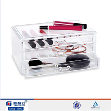 2015 custom crystal pony acrylic makeup box organizer for nail polish show lucite makeup storage case personal cosmetic