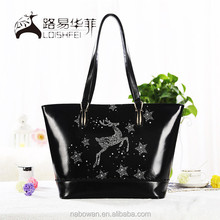 2015 popular Christmas giraffe pattern gift handbag with animal print retro vintage handbag