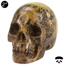 "Cheap wholesale hand made 2"" natural gemstone Yellow Grass carved decoration skull for sale,crystal skull healing"