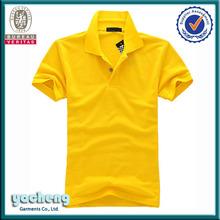 de alta calidad 2014 estilo de la moda de algodón de color amarillo llano personalizado polo de diseño para mujeres