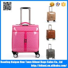 16 inches pink bright color Ostrich style pu travel boarding trolley bag with universal wheel