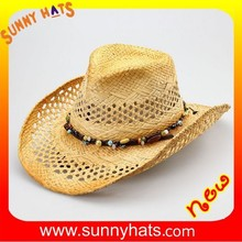 Wholesale Unisex Fashion Raffia Straw Free Crochet Cowboy Hat Special Decorate