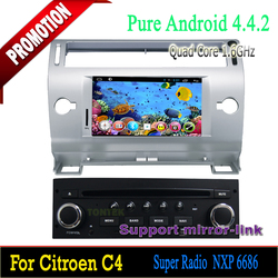 7 inch Android 4.4 Car dvd with Can-bus built in wifi dvd player Quad core for Citroen C4 2004-2010
