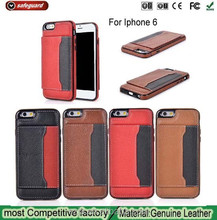 For card slots iphone 6 genuine leather cover case for apple iphone6 stand case