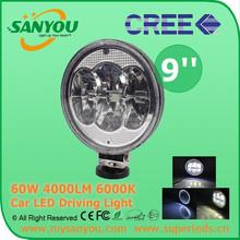 High performance 60watt led work light 9inch led work light 60w round led driving light for truck