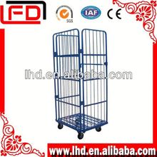 stainless steel supermarket milk rolling cages with casters