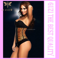 2015 Hot Female Leopard Body Sculpting Waist Training Rubber Corset locked in a corset