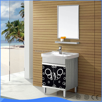 Luxury style stainless steel bathroom Cabinet with basin