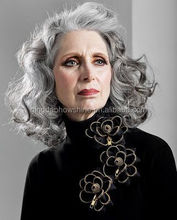 Top Beauty Fashion Brazilian Human Hair Gray Color Old lady wig