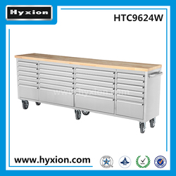 96 inch 24 drawers heavy tool trolley with wooden top
