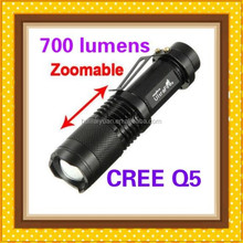 2SK68 AA or 14500 battery cree q5 7w zoom led rechargeable tactical flashlight/2015 new wholesale cree flasglight